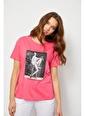 Setre Siyah Baskılı Kısa Kol T-Shirt Fuşya
